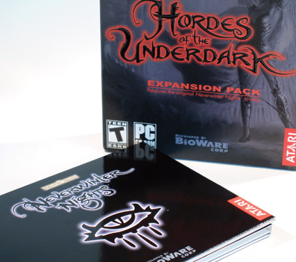 detail of Hordes of the Underdark box and disk sleeve